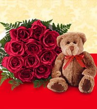 One Dozen Wrapped Red Roses & Bear
