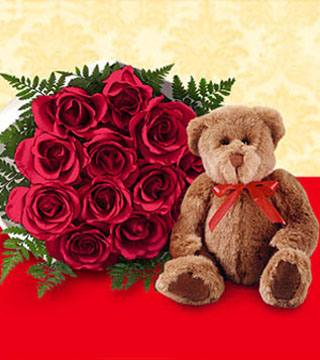 One Dozen Wrapped Red Roses & Large Bear