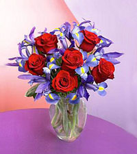 Iris & Red Rose Bouquet